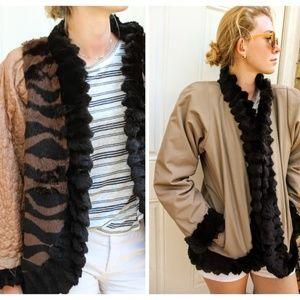 Vintage 80s FRANCE/KOREA Rabbit Fur COAT Jacket